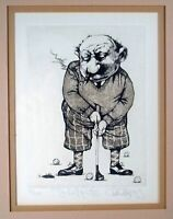 Charles Bragg (1931-2017):  Short Putts. Etching, SIGNED, nicely matted