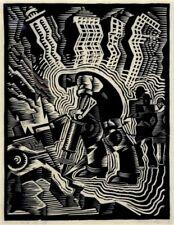 Man with Drill : Charles Turzak :  Wood Block : Circa 1937 : Art Print