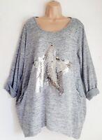 New Ladies Lagenlook Grey Sequin Star Tunic Top Light jumper Size 16 18 20 22 24