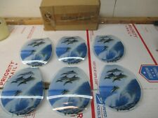 NEW OK TOUCH SMALL LAMP REPLACEMENT GLASS PANELS 603-DO4 JUMPING DOLPHINS OCEAN