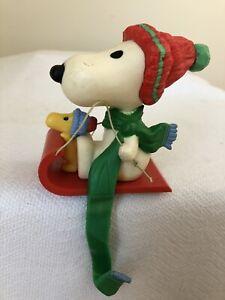 Vintage Hallmark Christmas Stocking Hanger -  Peanuts - Snoopy - Woodstock Sled