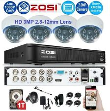 Zosi 8Ch 1080p TVI / AHD CCTV DVR + 2TB HDD w/ 4x Indoor 2.8-12mm Lens Cameras