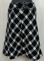 Grace Elements Womens A Line Skirt Wool Geometric Black White Knee Length 6