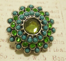 Peacock Green Blue Faceted Pop It Snap In Noosa Style Metal Button Chunk Charm