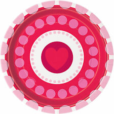 8 x Valentines Paper Plates Radiant Hearts Party Tableware Buffet Dessert Plates
