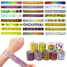 48Pcs Slap Bracelets Party Favours Pack 24 Designs with Colorful Pattern