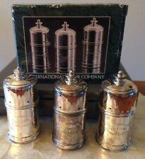 1998 INTERNATIONAL SILVER CO. Silverplated 3 Pieces Espresso Shaker Set