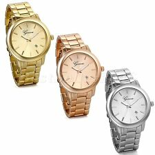 New Men Women Luxury Stainless Steel Band Analog Quartz Wrist Watch Gift