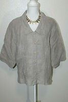 FLAX Womens Sz Medium Tan 100% Linen Button Front Blouse Shirt Top