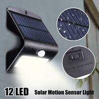 12 LED Energia Solare Sensore di Movimento Muro Luce Giardino Esterno Lampada