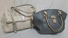 """Guess Handbags Bundle Of 2 Cream Snake Skin And Grey Signature """"G"""" Faux Leather"""