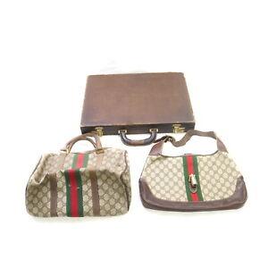 Gucci PVC Leather Hand Bag Brief Case 3 pieces set 523250