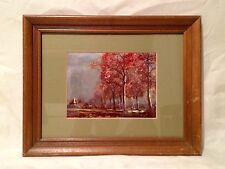 Vintage Chic FOIL PRINT Wood Frame Fall Scene ENGLAND Mountain Art