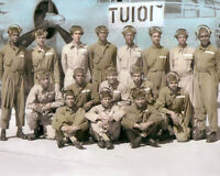 """THE TUSKEGEE AIRMEN AFRICAN AMERICAN WWII PILOTS 11x14"""" HAND COLOR TINTED PHOTO"""