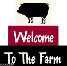 Stencil Welcome to the Farm Pig Country Cottage Blocks Free Shipping!