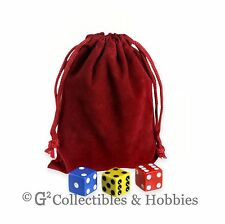 """NEW 4"""" x 5.5"""" Red Velveteen Cloth Dice Bag RPG D&D Counter Pouch"""