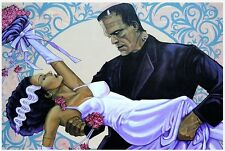 "Lowbrow THE WEDDING 12"" x 18"" Print Mike Bell Frankenstein & Bride Monster LOVE"
