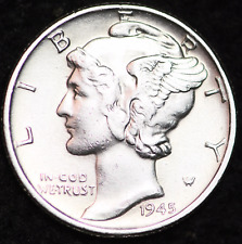 1945-P AU MERCURY DIME / PHILADELPHIA MINT ALMOST UNCIRCULATED 90% SILVER COIN