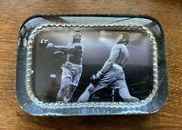 Vintage Cassius Clay- Muhammad Ali vs Joe Frazier Glass paper weight