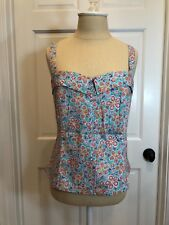 HAROLDS ~ Women's Cotton Multi Floral Stretch Summer Top - AQUA (14) - NWT