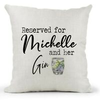 Personalised Reserved For And Her Gin Cream Cushion Gift Friend/Gin & Tonic Gift