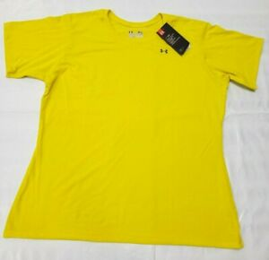 NEW! LOT OF 2 UNDER ARMOUR XLarge SEMI FITTED WOMENS T SHIRT Heat Gear Yellow