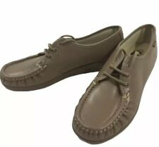 SAS Hand-sewn Soft Step Comfort Tan Leather Lace Up Loafer Shoe Womens 7.5 N