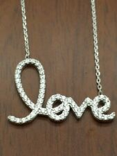 925 sterling silver love word c z chain necklace.