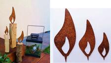 3er Set Flammen Wett 26cm und 39cm  Edelstahl mit Schliff 18cm Garten Deko