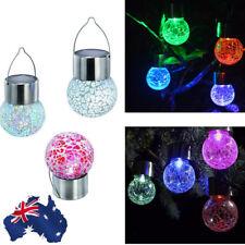 AU! 7 Color Changing LED Solar Garden Hanging Light Crackle Glass Lantern Ball