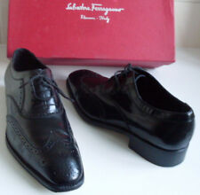 SALVATORE FERRAGAMO Designer Mens Black Oxford Formal Dress Shoes Size 7.5