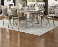 Lavish Dine Luxury Formal Dining Table Glass 7pc Set Silver Accent Tufted Chairs