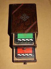 VINTAGE US PLAYING CARD CO 2 DECKS CARDS IN SLIDE DRAWER BOX
