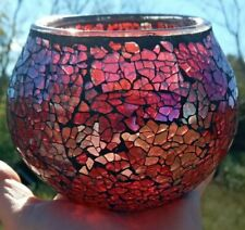 1 Large Crackle glass round candle holders, stained glass mosiac, red, purple
