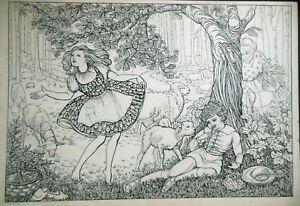 Original Vintage Children's Book Illustration (c1920) Little Bo Peep, Boy Blue