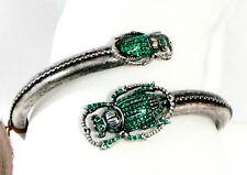 Vintage Lucky Brand Scarab Beetle Czech Crystal Silver-tone Bangle Bracelet Nwt