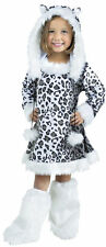 FUZZY SNOW LEOPARD CHILD HALLOWEEN COSTUME GIRLS SIZE X-LARGE 4-6