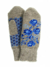 Women's Knit Wool Blend Gray Mittens with Blue Floral Pattern, (US 6.5 / RU 17)