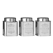Chai Stainless Steel Set of 3 Tea Coffee Sugar Canister Storage Air Tight Jars
