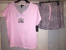 RENE ROFE SLEEPWEAR Pink & BLACK LEOPARD 2Pc.PJ SHORT SLEEPSET Women's 1X $52.00