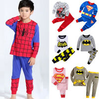 Toddler Baby Kids Boys Girls T-shirt Pants Pajamas Set Superhero Sleepwear Pj's