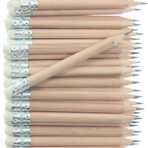 Round Mini Golf Pencils with Eraser - Beech Wood - Blank