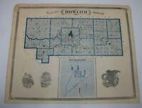 Antique 1876 Indiana Map Atlas Howard Co. Russiaville Kokomo Fairmount Marion