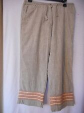 Woolrich Size 10 casual 100% cotton cropped pants Grey Orange embroidery accents