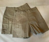 "*LOT OF 2* Polo Ralph Lauren 38 x 8.25"" Khaki 100% Cotton Chino Cargo Shorts"