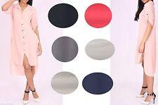 Patternless 3/4 Sleeve Shirt Dresses for Women