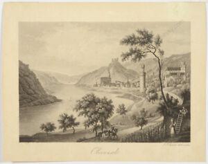 "Johann Jakob Tanner II ""View of town Oberwesel at the Rhine"", aquatint, 1830s"