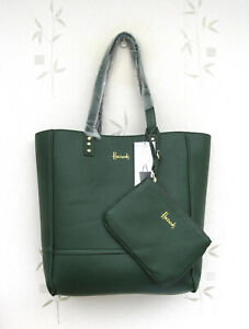 Harrods Large Green/Black (Reversible) Tote Bag with seperate purse/bag New