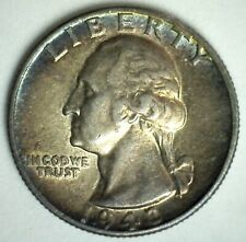 1943 Washington Silver Quarter Uncirculated US 25c Coin Rainbow Toned Philly