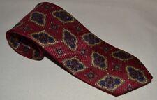 Brooks Brothers Makers  Navy, Burgundy, Gold Print Silk Tie USA